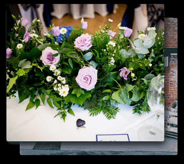 wedding florist hampshire providing purple wedding flowers for a ceremony.